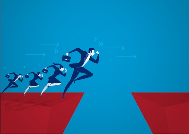 Illustrator businessman jumping over chasm. business success concept ,risk .