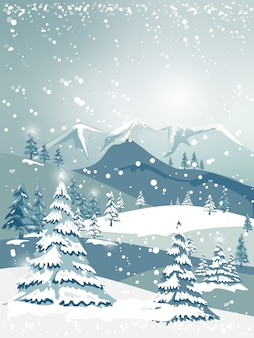 Illustrator christmas and winter landscape with forest trees on blue mountains