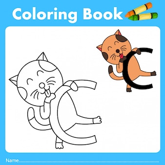 Illustrator of color book with cat animal
