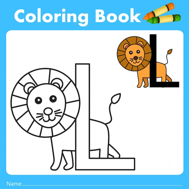 Illustrator of color book with lion animal