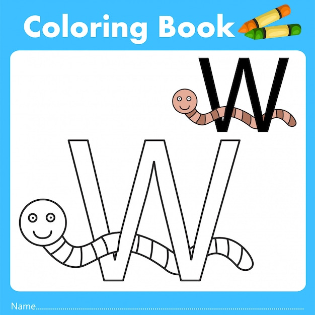 Illustrator of color book with worm animal