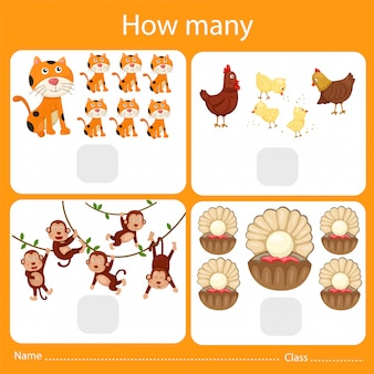 Illustrator of counting how many animal