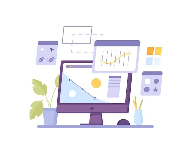 イラストレータークリエータープログラムデザインコンピューターディスプレイ