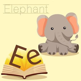 Illustrator of e for elephant vocabulary