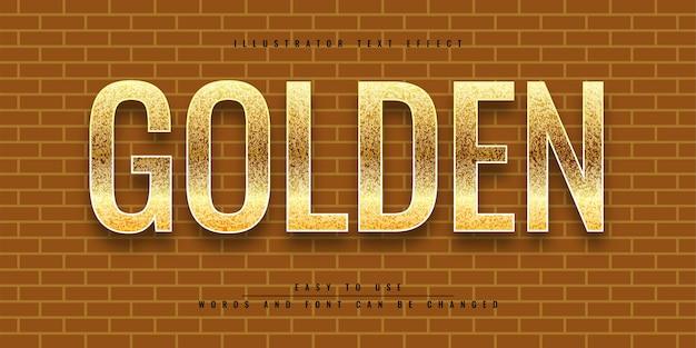 Редактируемый дизайн шаблона с эффектом золотого текста в иллюстраторе