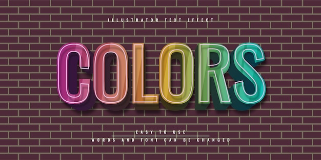 Illustrator 편집 가능한 3d 텍스트 효과 다채로운 템플릿 디자인