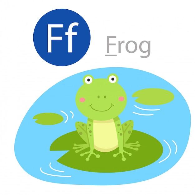 Illustrator of f for frog animal