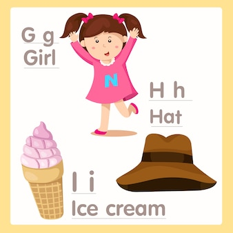Illustrator of g h i with a girl hat and ice cream  alphabet