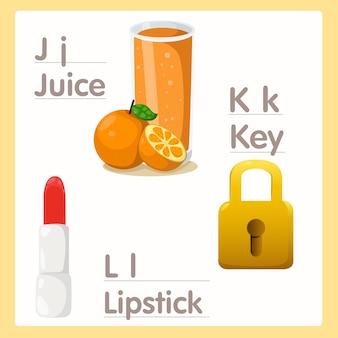 Illustrator of j k l with juice key and lipstick alphabet