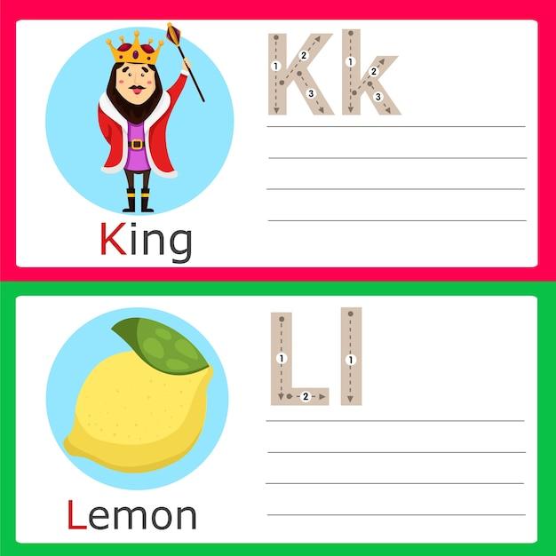 Illustrator of k-l exercise for kids