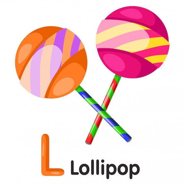 Illustrator of l font with lollipop