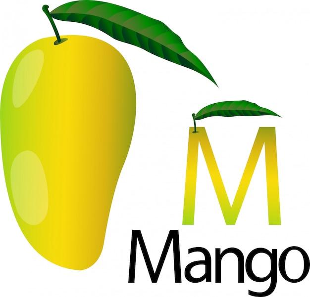 Illustrator m font with mango
