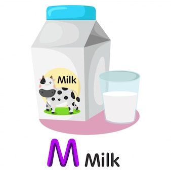 Illustrator of m font with milk