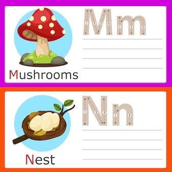 Illustrator of m-n exercise for kids