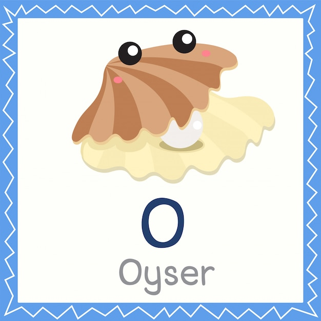 Illustrator of o for oyster animal