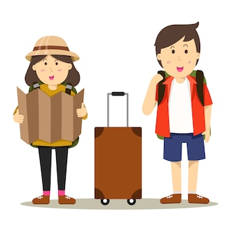 Illustrator of boy and girl go to travel
