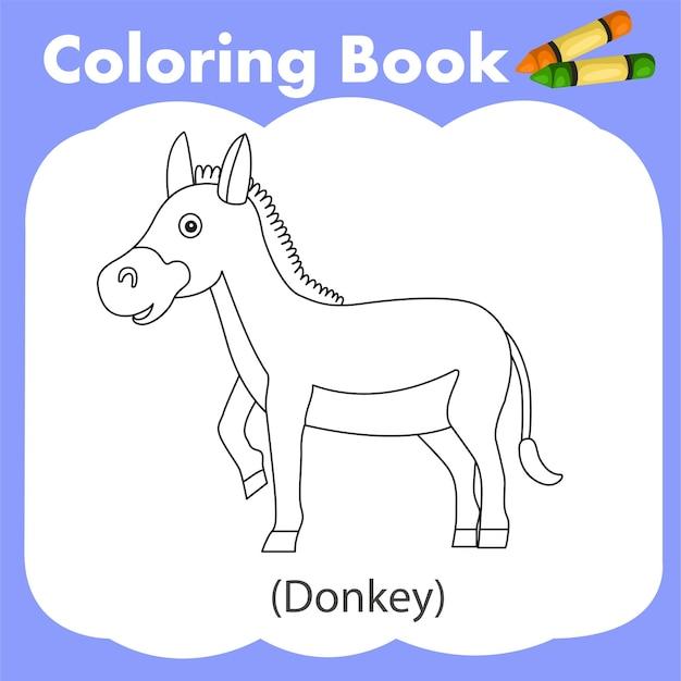 색칠하기 책 당나귀의 일러스트 레이터