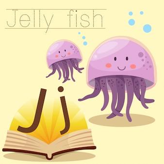 ゼリー魚の語彙のためのjのイラストレーター