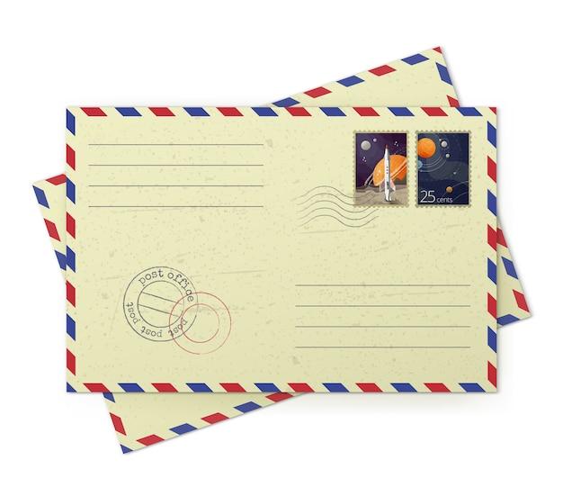 흰색 배경에 고립 된 우편 우표와 빈티지 항공 우편 봉투의 일러스트 레이터
