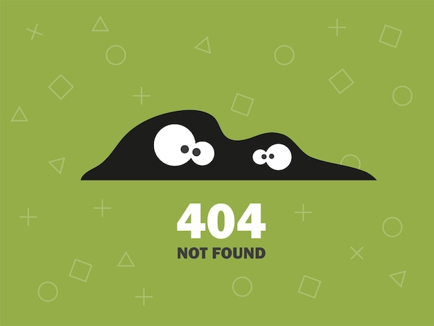 Illustrator of oops 404 error page not found vector green background with eyes modern design