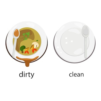 Illustrator of opposites dirty and clean
