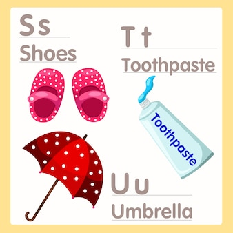 Illustrator of s t u with shoes toothpaste and umbrella alphabet