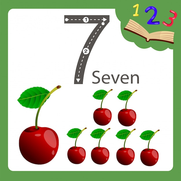 Illustrator of seven number cherry