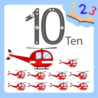 Illustrator of ten number helicopter