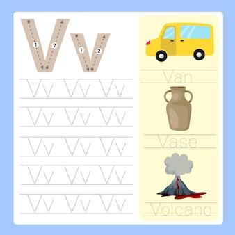 Illustrator of v exercise az cartoon vocabulary