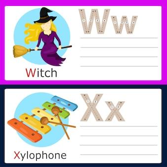 Illustrator of w-x exercise for kids