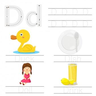 Illustrator of worksheet for children d font