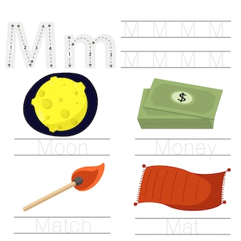 Illustrator of worksheet for children m font