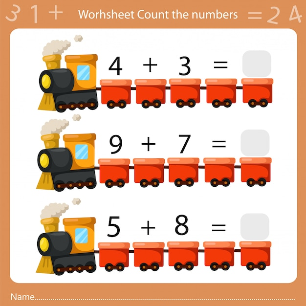 Illustrator of worksheet count the number one