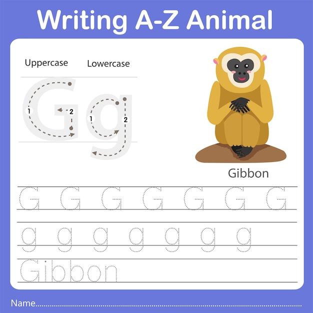 Illustrator of writing az animal gibbon