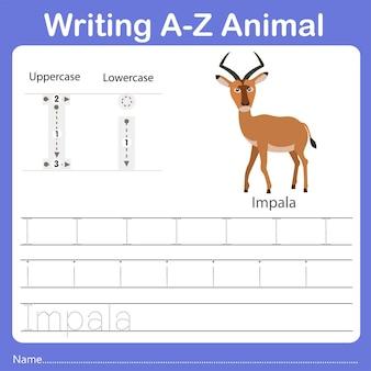 Illustrator of writing az animal impala