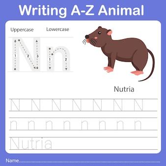 Illustrator of writing az animal nutria