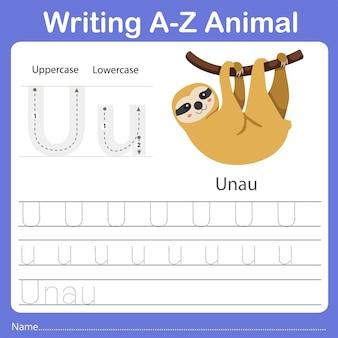 Illustrator of writing az animal unau