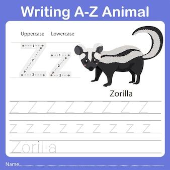 Illustrator of writing az animal zorilla