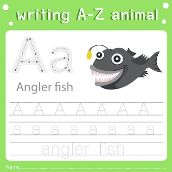 Illustrator of writing a-z animal a angler fish