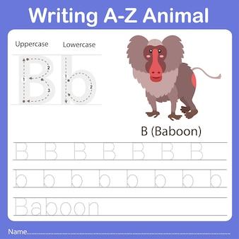 Illustrator of writing a z animal baboon