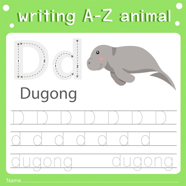 Illustrator of writing a-z animal d dugong