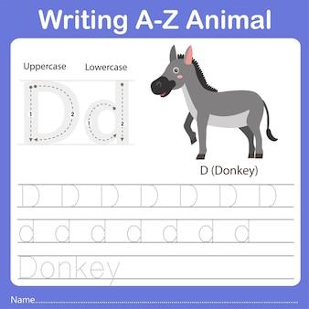 Illustrator of writing a z animal donkey