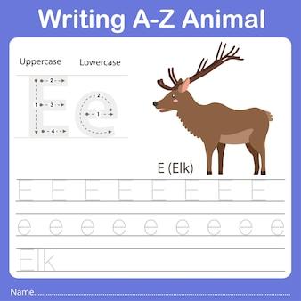 Illustrator of writing a z animal elk