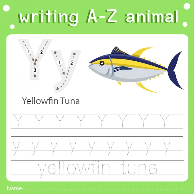 Illustrator of writing a-z animal y yellowfin tuna