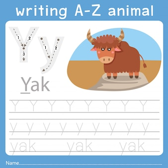 Illustrator of writing a-z animal y