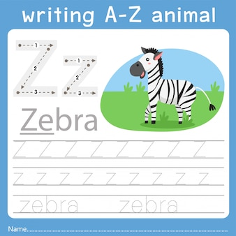 Illustrator of writing a-z animal z