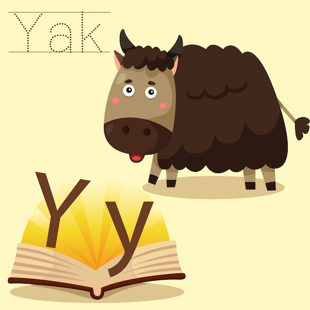 Illustrator of y for yak vocabulary