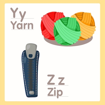 Illustrator of y z with yarn and zipe alphabet