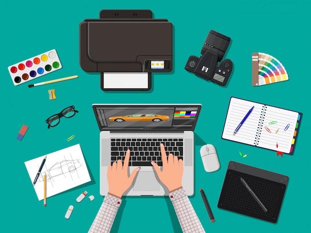 Дизайнерское рабочее место. рабочий стол illustrator с инструментами