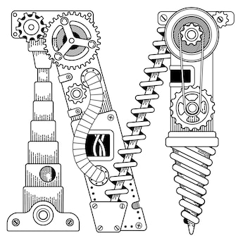 성인을위한 steampunk 색칠하기 책 illustratrion